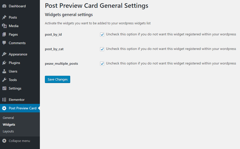<p>After installing and activating the plugin make sure all the widgets were added, go to Post Preview Card > Widgets and if any widget widget you want is not checked, simply check and save.</p>