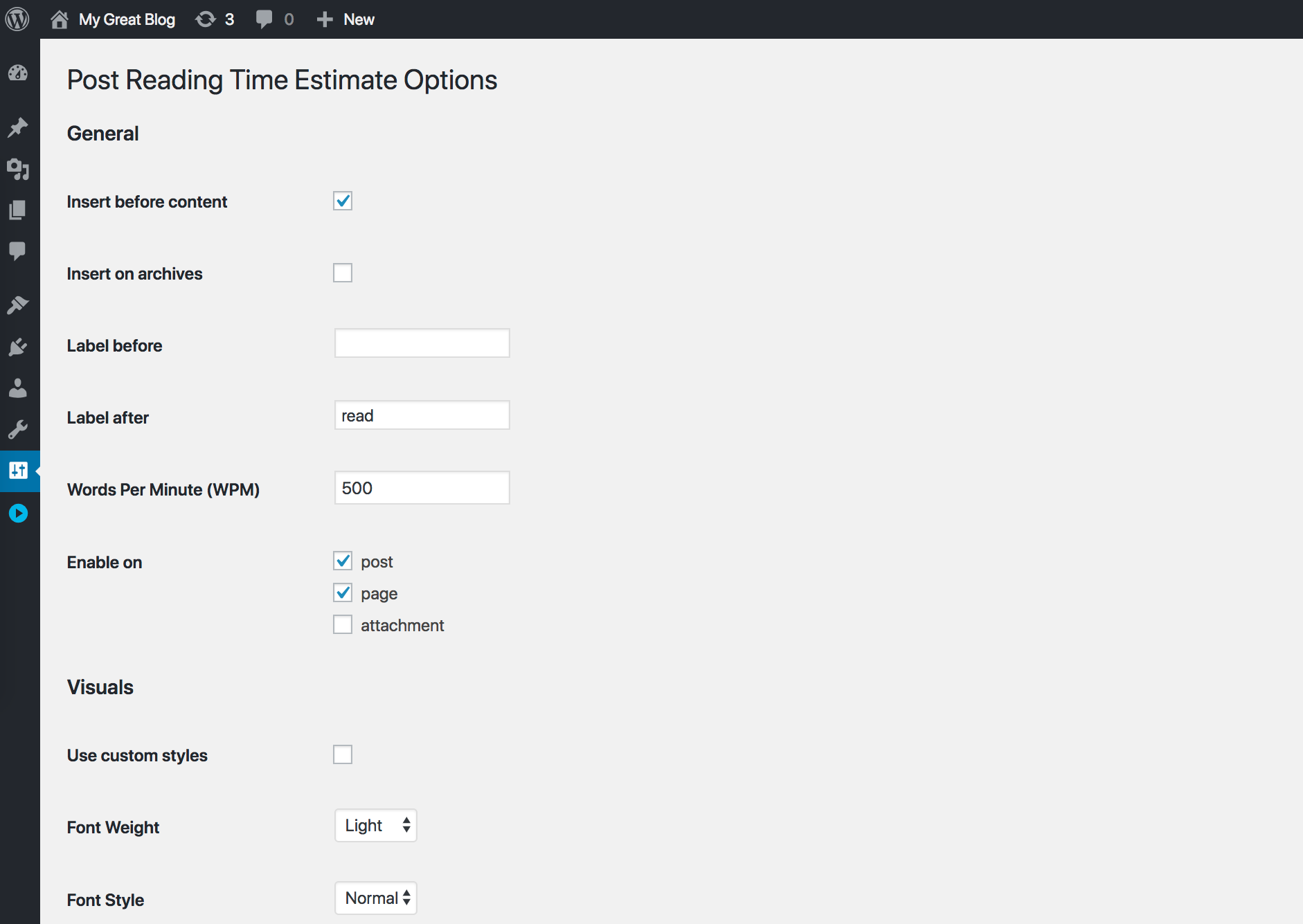Fully customizable Read Time Estimate for your posts, pages, and custom post types!