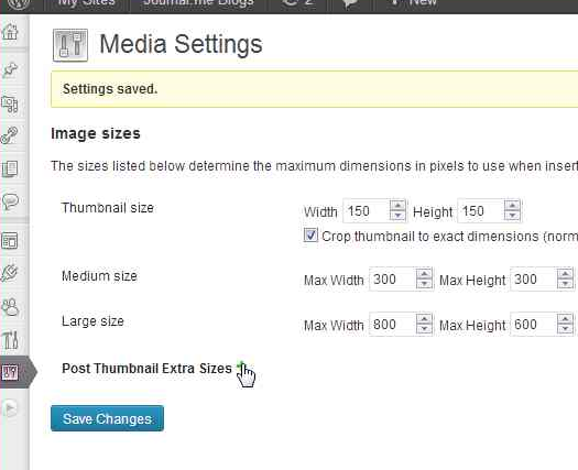 In Settings → Media, click the plus sign to add a new post thumbnail.