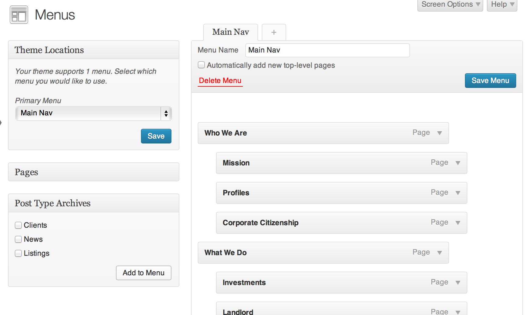 Custom post types admin menu metabox