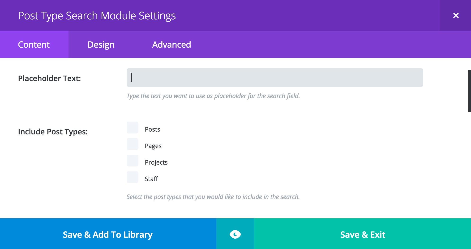 Post Type Search Module Settings