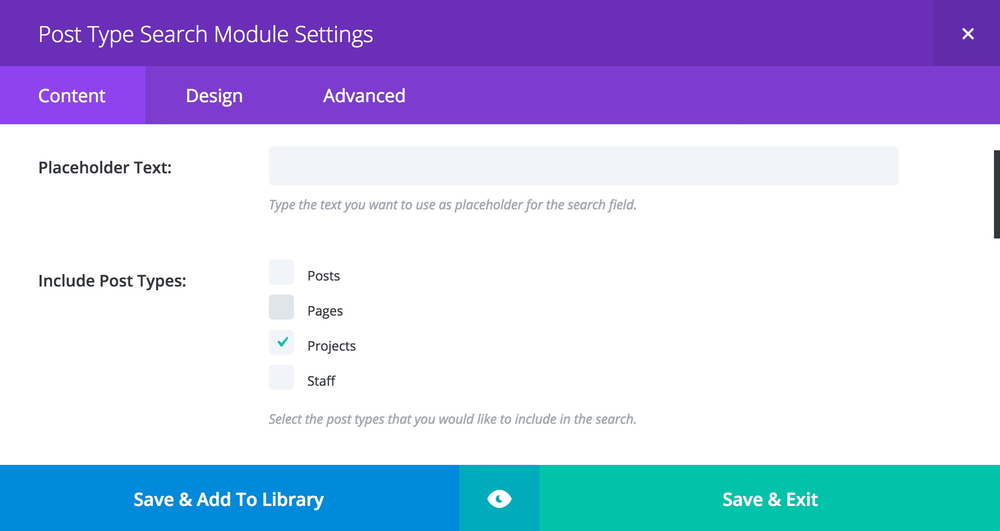 Post Type Search Module Settings with Projects Selected