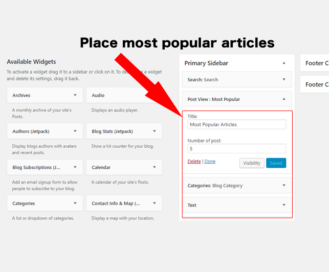 pAdd Most Popular Articles to the widget section/p