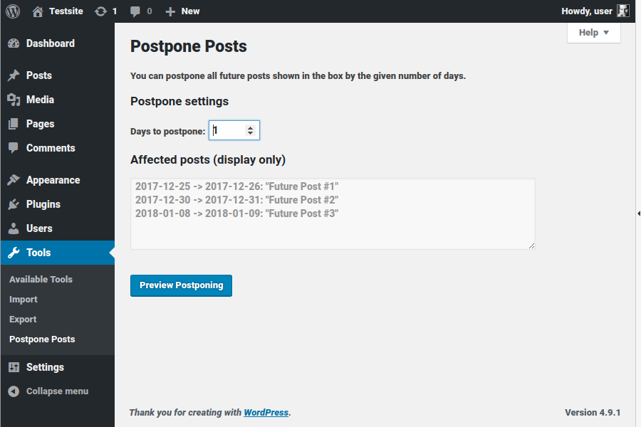 Start page: set number of days to postpone