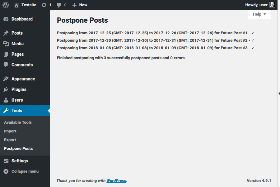Result page: see a summary of the postpone result.