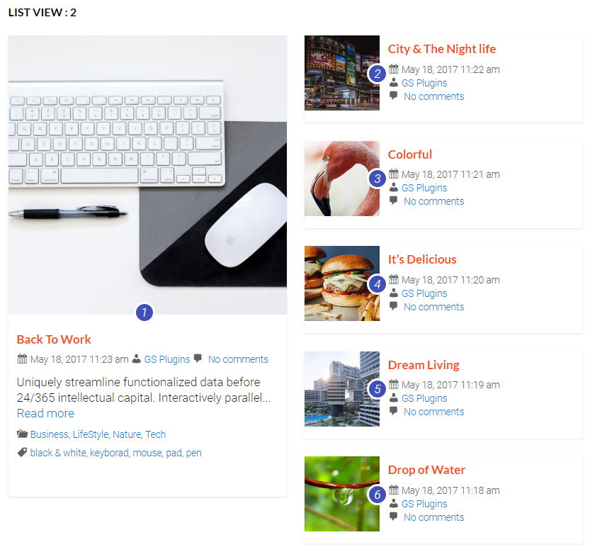 WP Posts Widget in Style : 10 (LIST VIEW : 2)