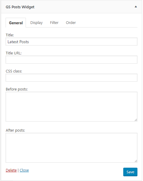 WP Posts Widget Order Settings