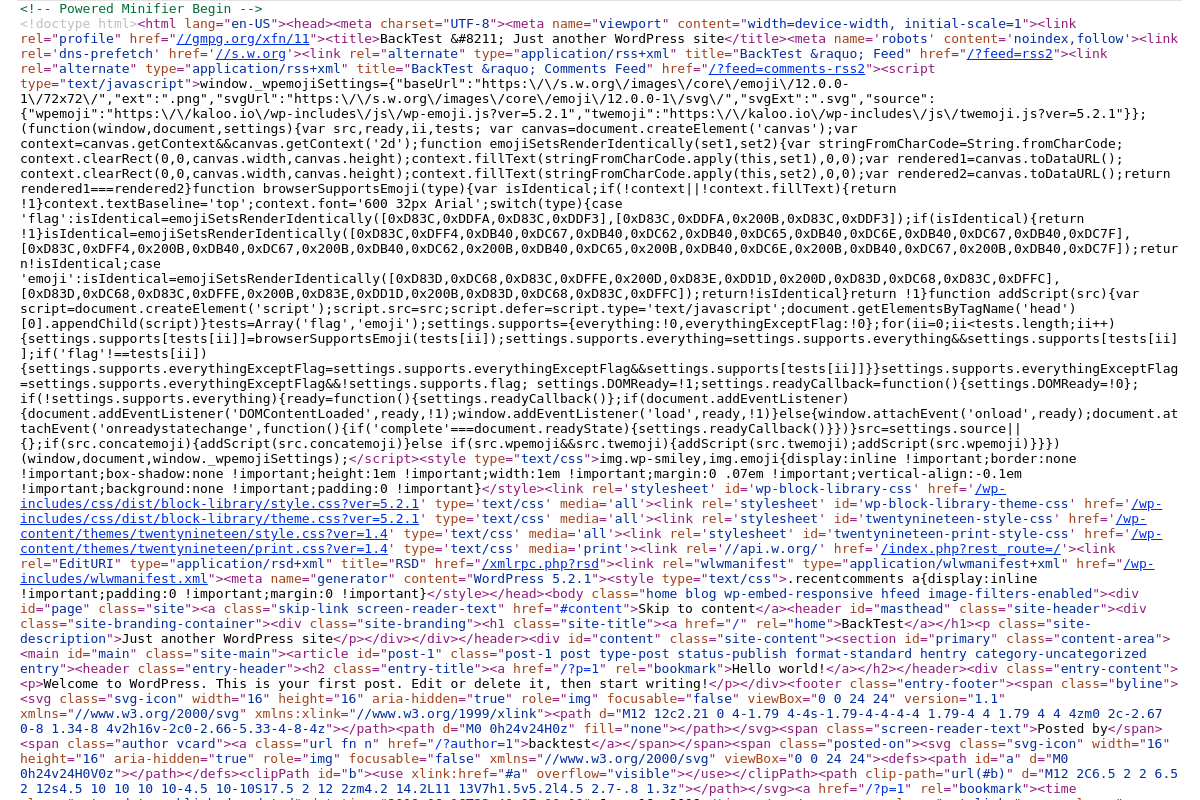 A screensht of the code source of a minified page.