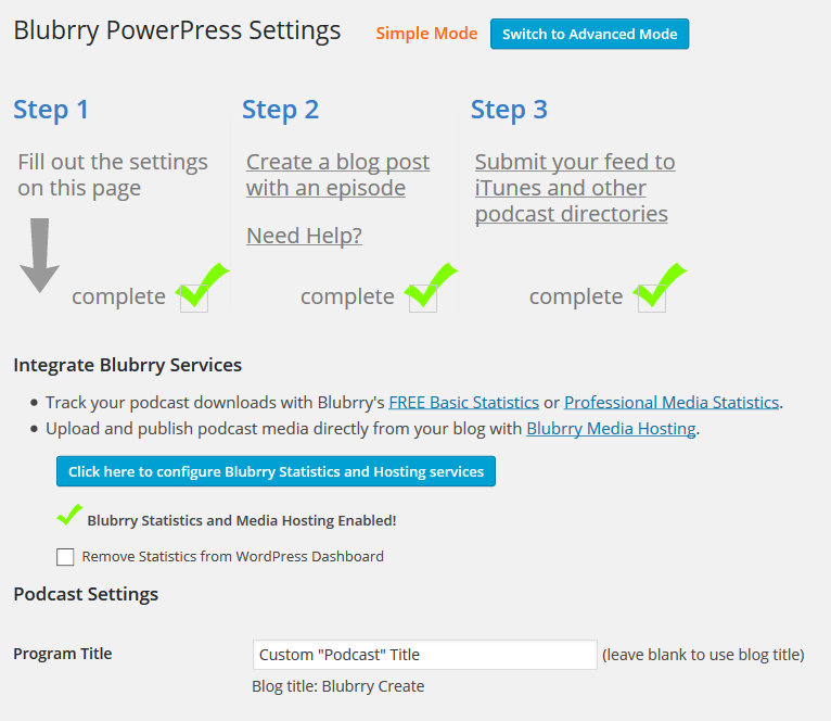 PowerPress's Simple Mode will walk you through setting up your podcast in 3 easy steps.