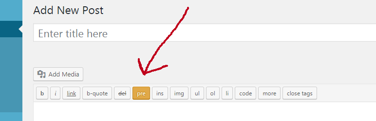 pre Tag For WP Editor