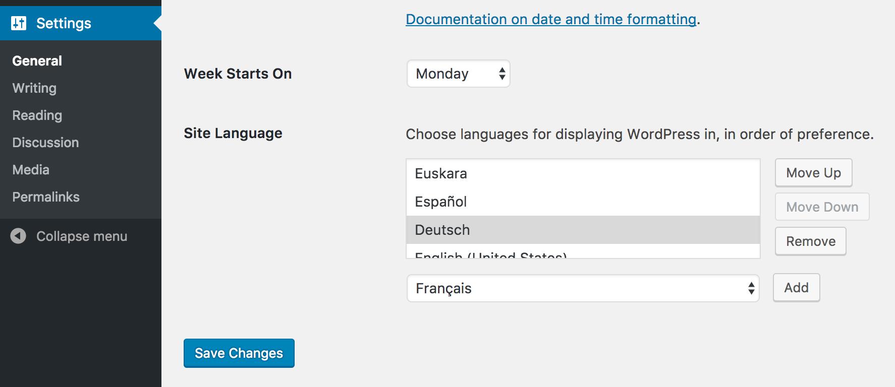 Screenshot of the Preferred Languages plugin.
