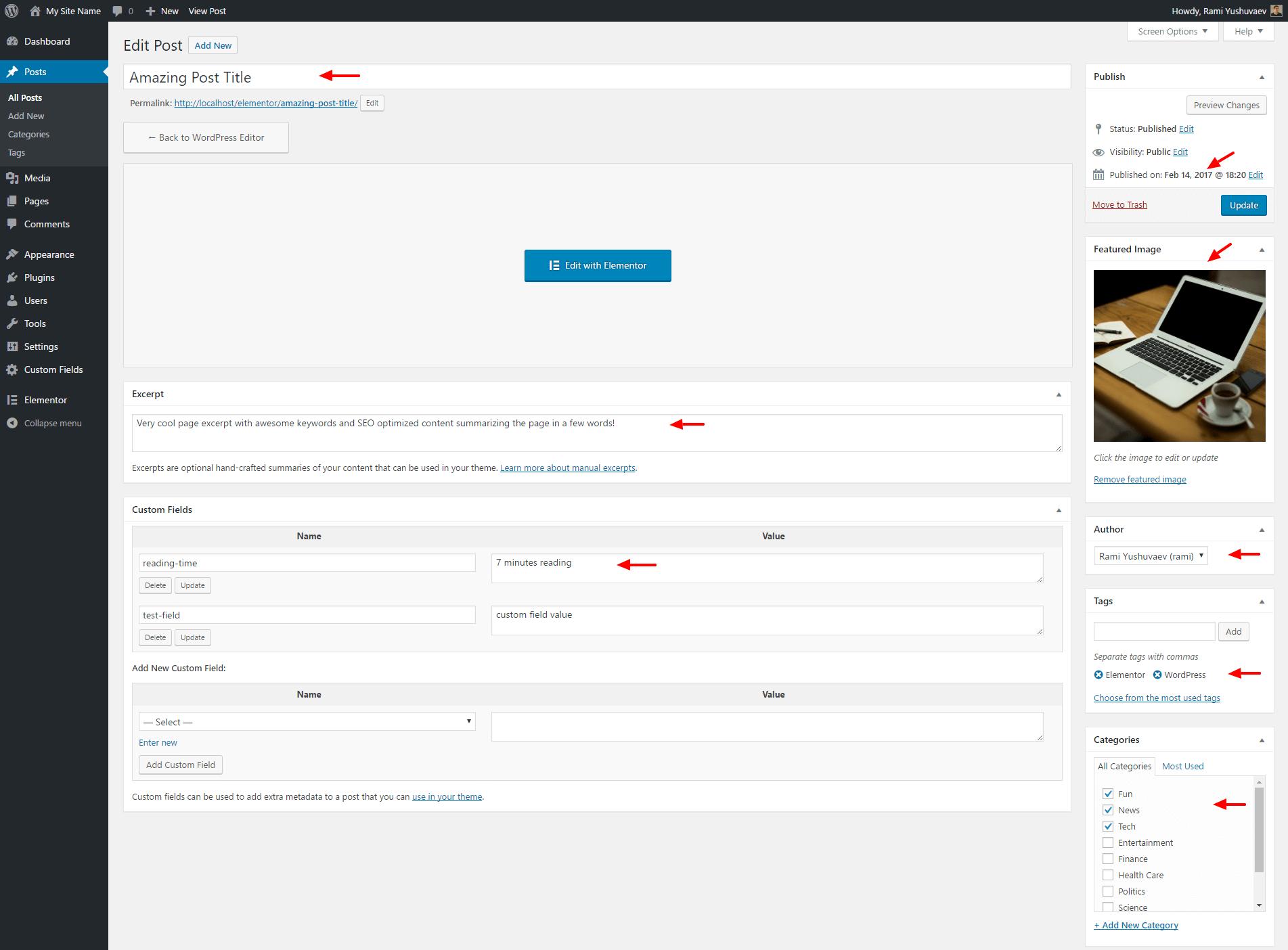 Post edit screen with WordPress elements.