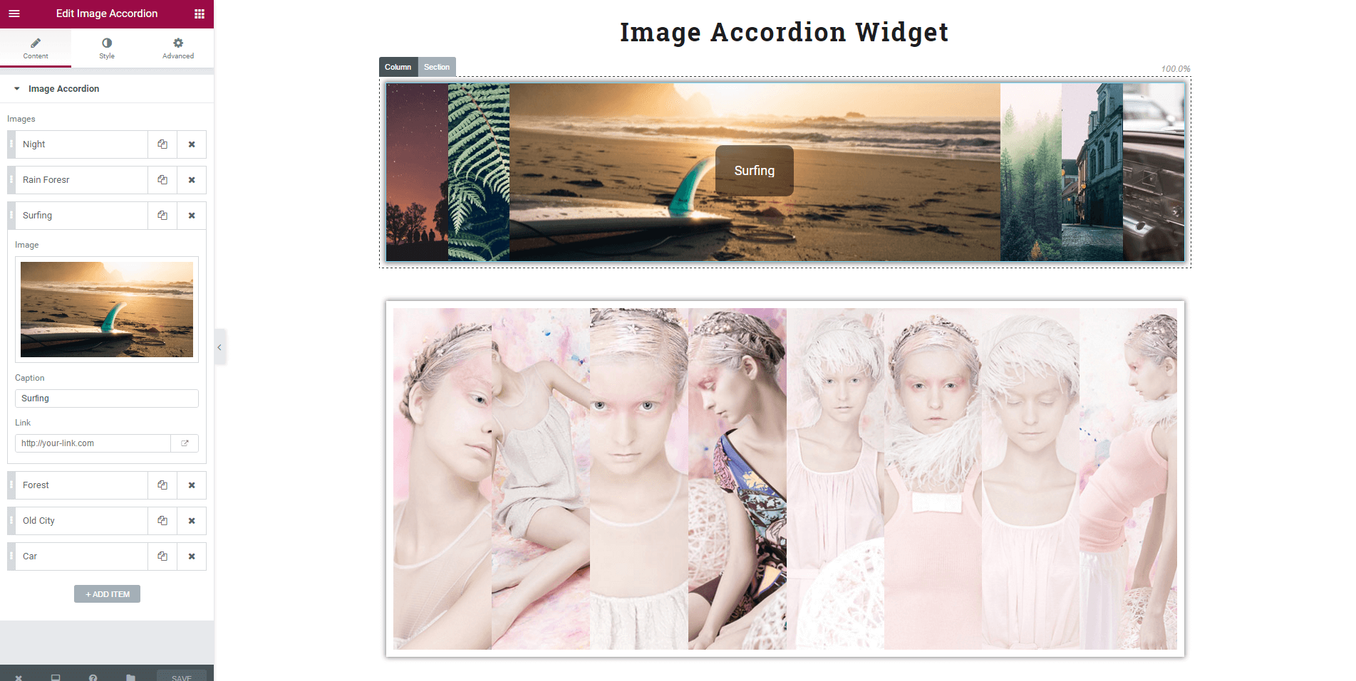Display images in a beautiful accordion effect.