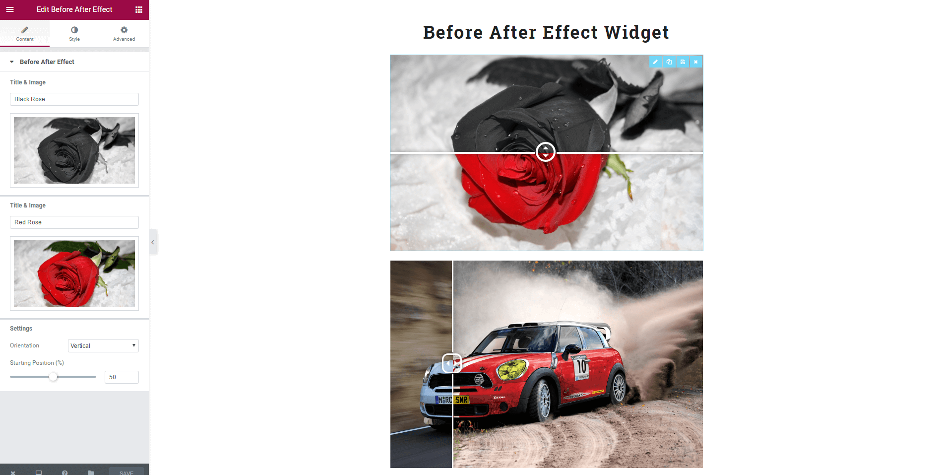 Display visual differences between two images.