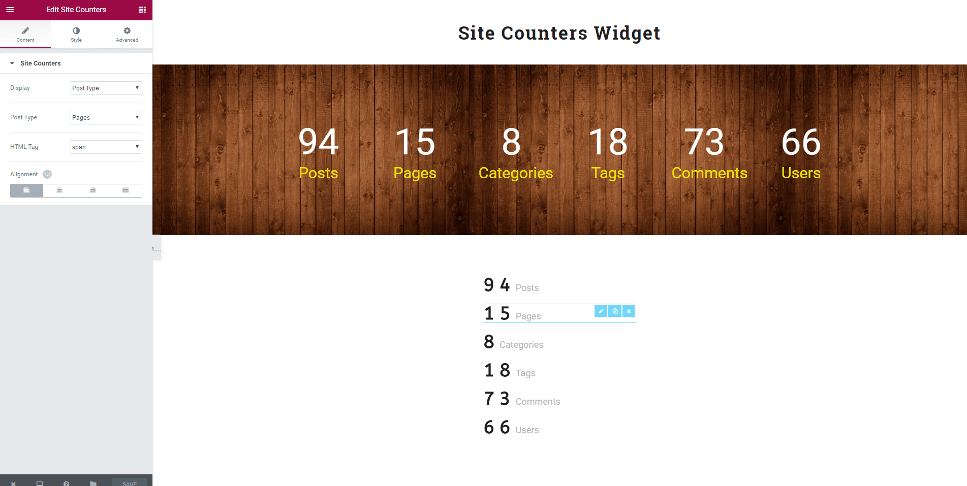 Site counters for Post Types, Taxonomies, Comments and Users.