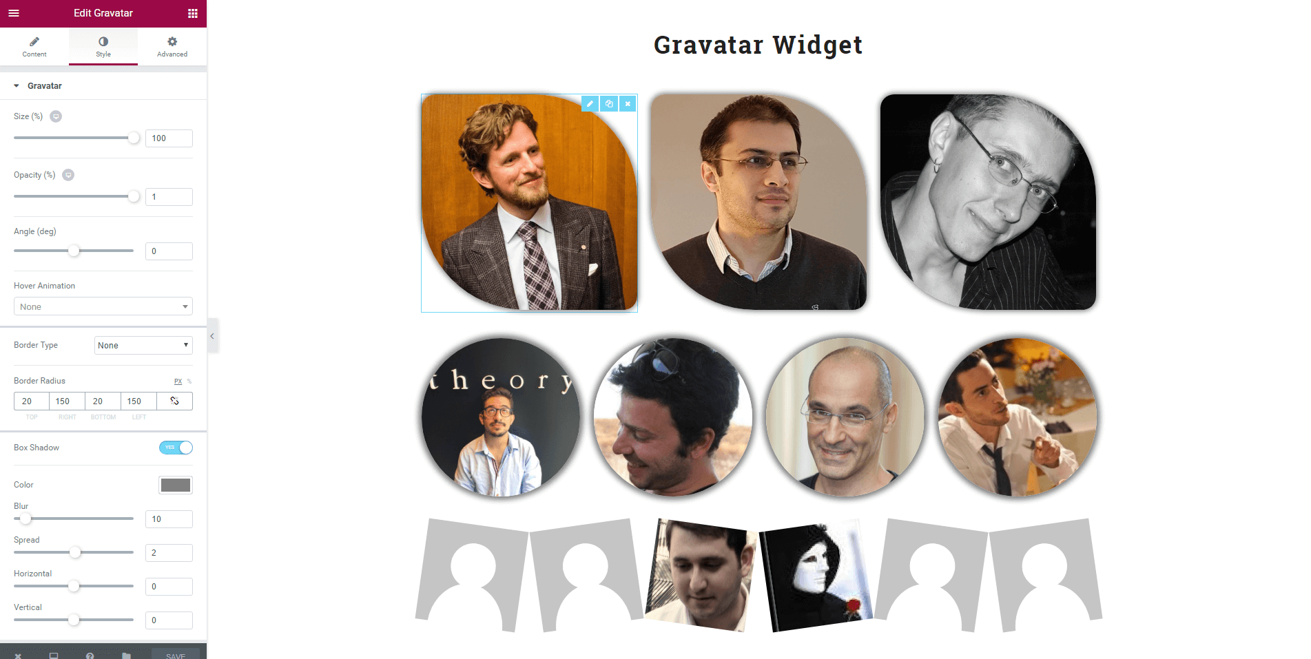 Display Gravatars based on an email address.