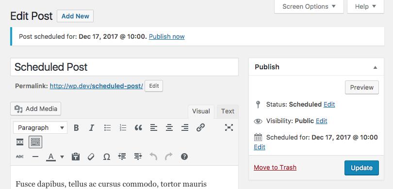 Schedule notice on post edit screen