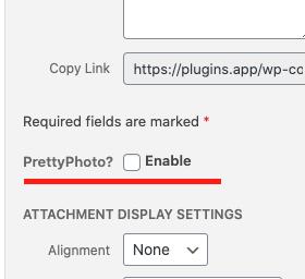 Enable/Disable prettyPhoto