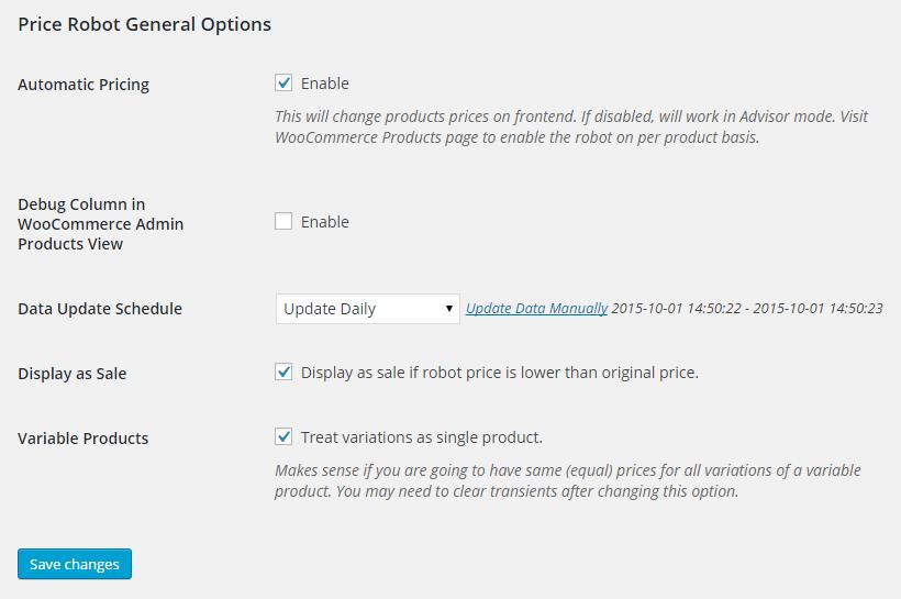 Plugin admin area - WooCommerce > Settings > Price Robot.