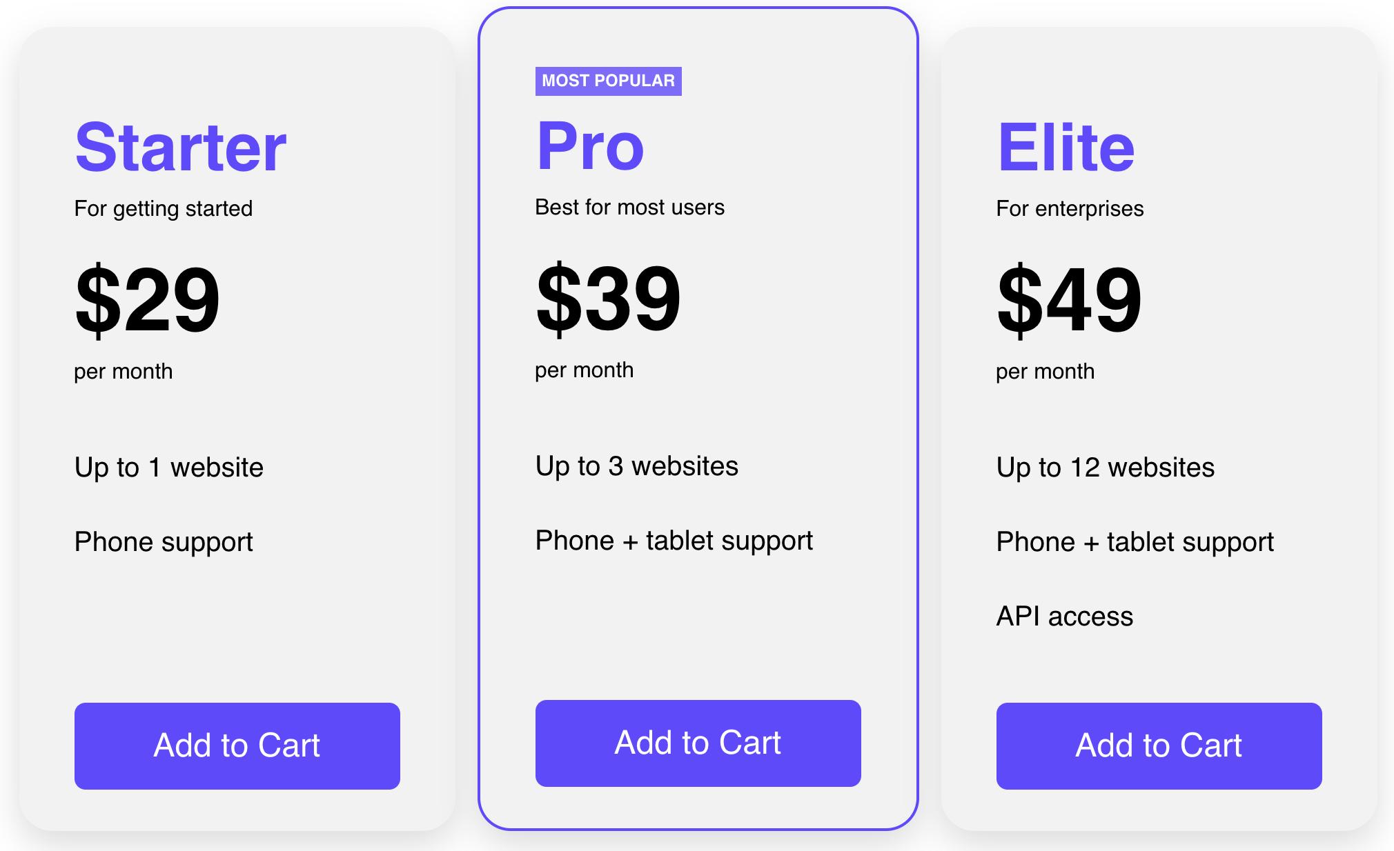 Pricing Table Blocks