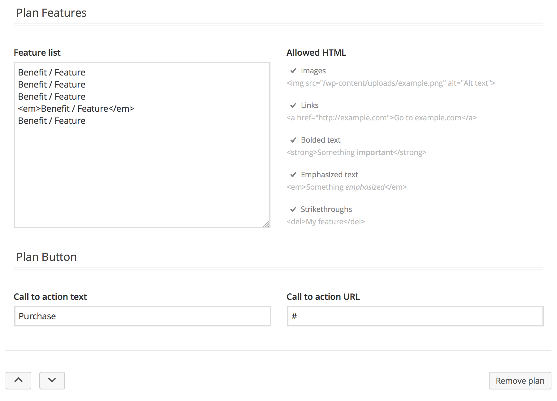 Individual plan settings (2 of 2). List features, call to action text, and link. Sorting options at the bottom.