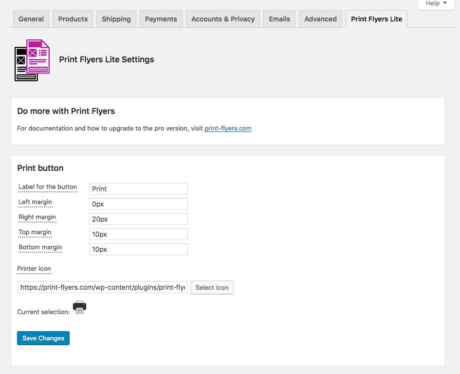 The Print Flyers Lite WooCommerce settings tab.