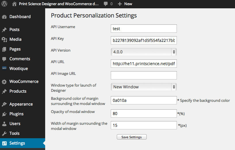API data configuration screen