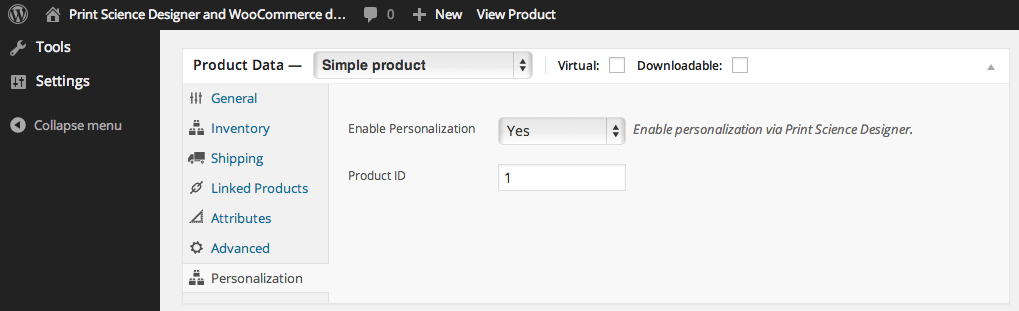 Product configuration screen
