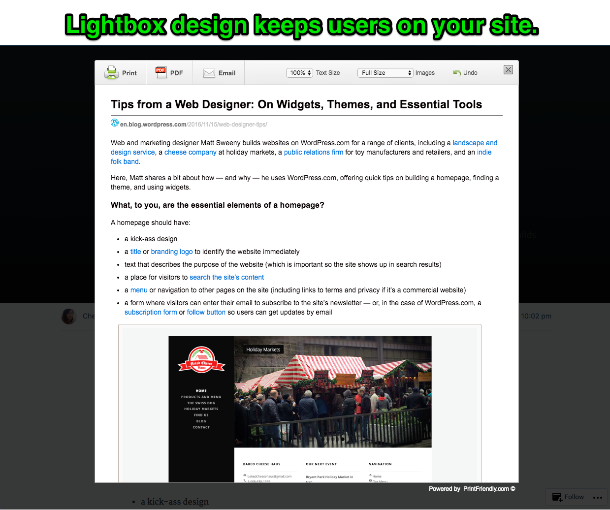 Lightbox design keeps users on your page.