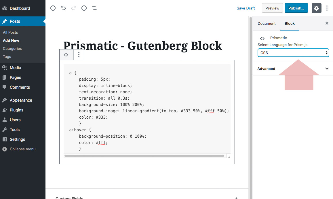 Prismatic block showing added code and language select