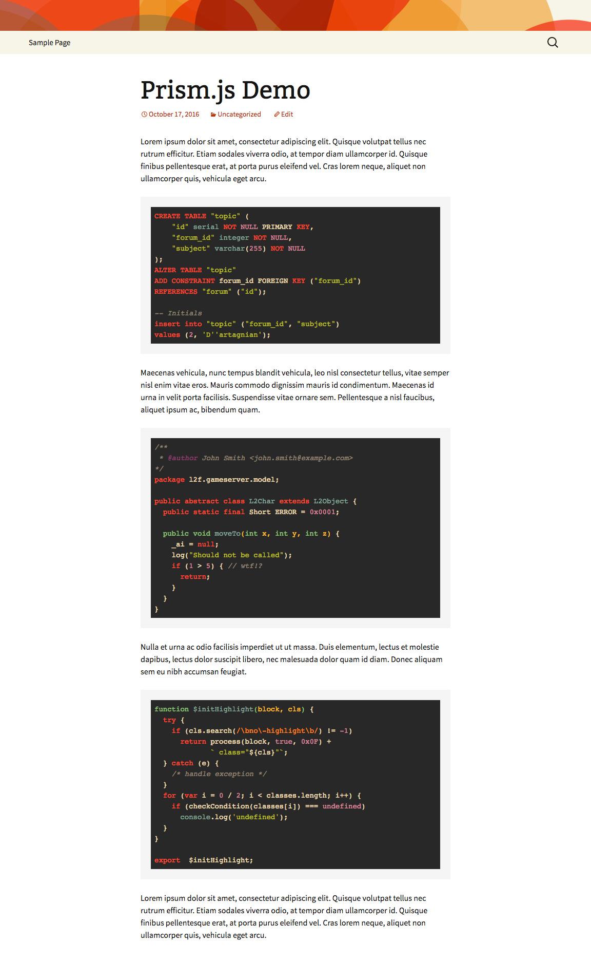 Highlight.js : Gruvbox Dark theme (choose from 77 Highlight.js themes!)