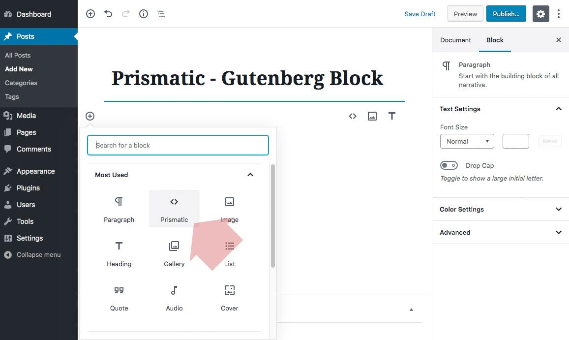 Gutenberg Prismatic block (under Formatting menu)