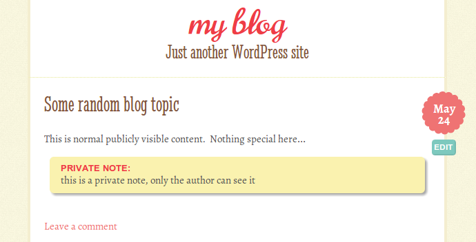 What it looks like if the author is viewing the post.