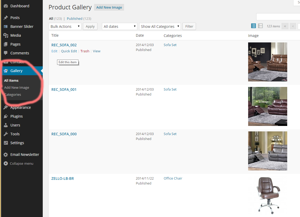 Product Image & Category Add/Edit/Delete through Admin Panel