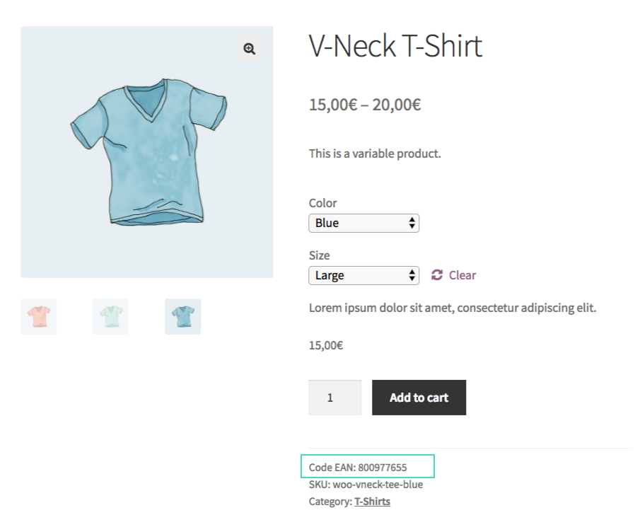 GTIN Code in WooCommerce product detail page.