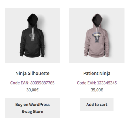 GTIN Code in WooCommerce shop page.