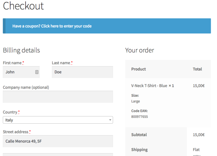 GTIN Code in WooCommerce checkout page.