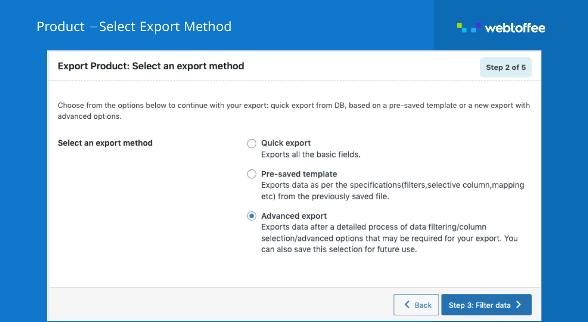 <p>WooCommerce Product Export Screen</p>