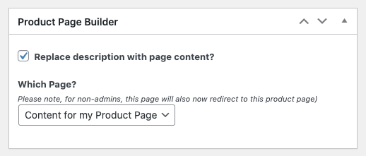 The new option you get on your product page to replace the boring description content with your beautifully built page content.