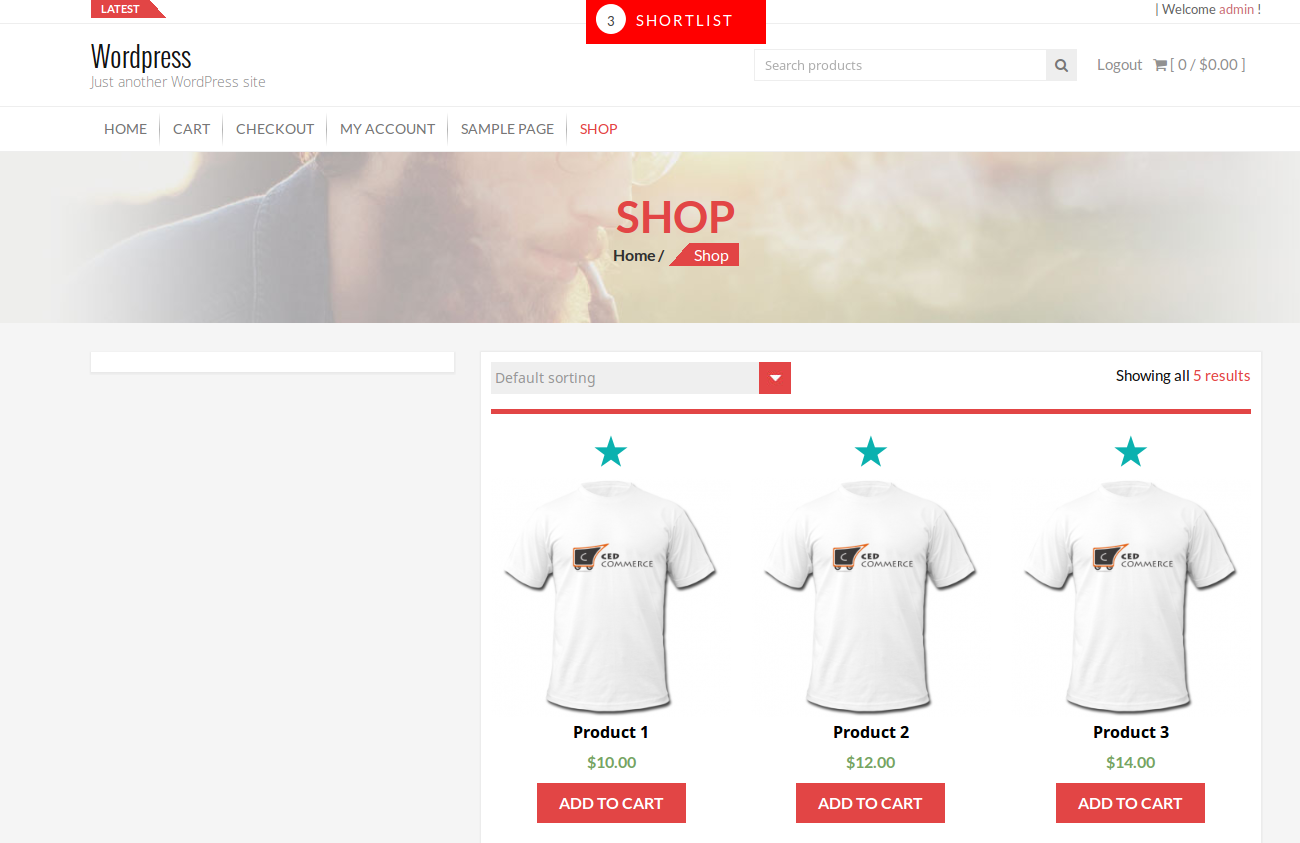 Shortlist at product listing page