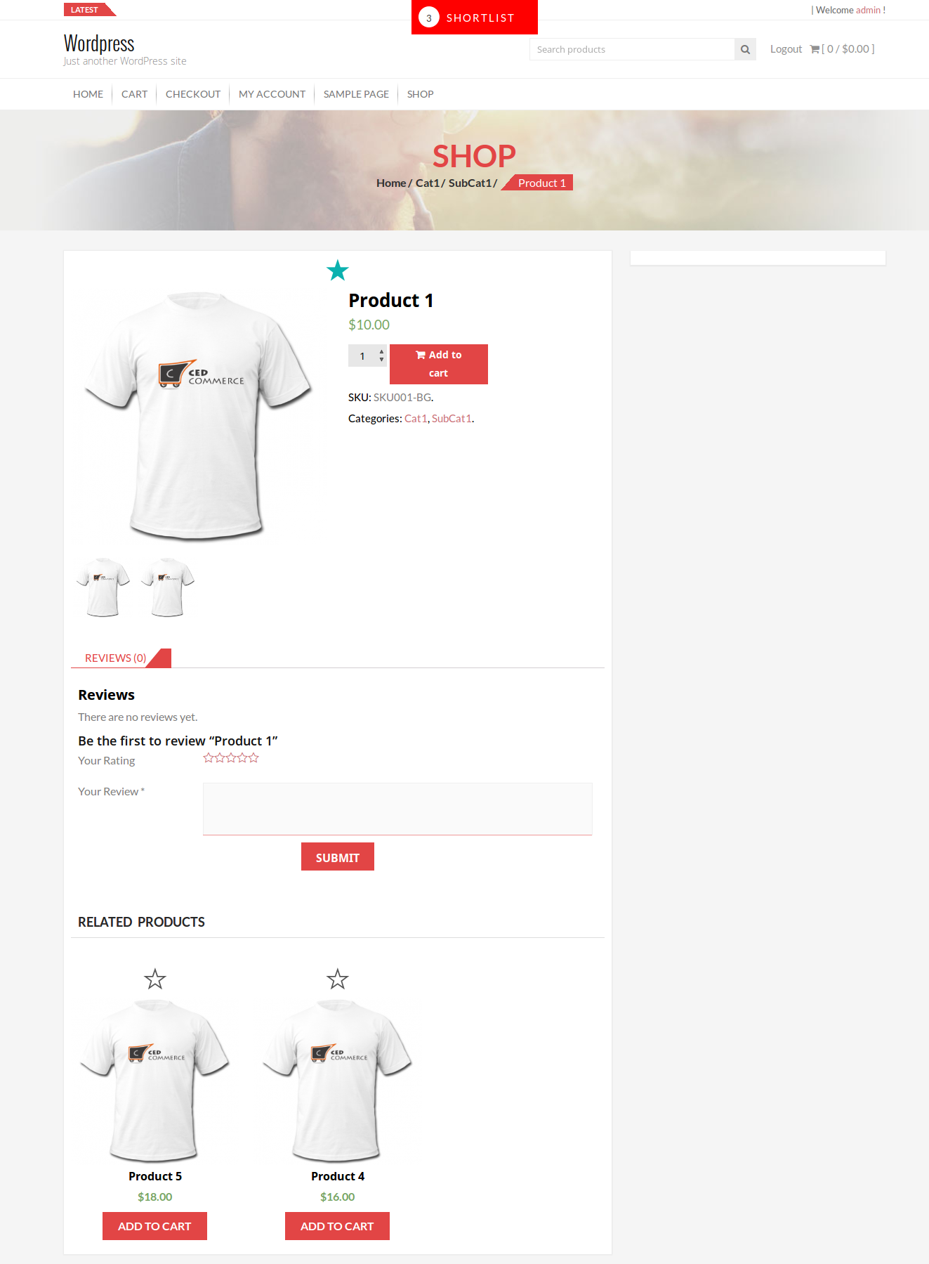 Shortlist at product detail page