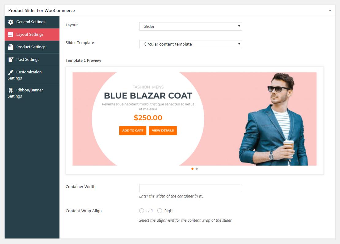 Product Slider For WooCommerce Lite- Slider Settings