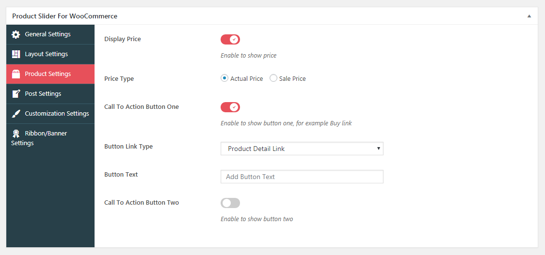 Product Slider For WooCommerce Lite- Customization Settings