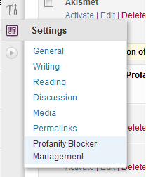 Plugin settings location (Settings->ProfanityBlocker Management)