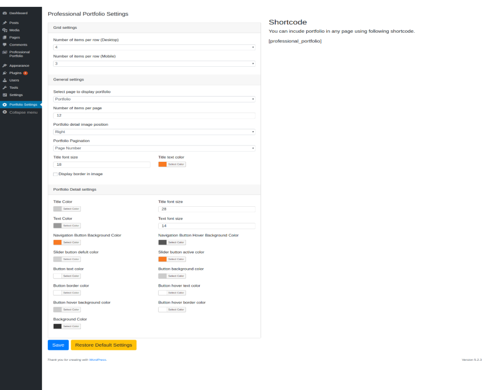 One showing admin setting