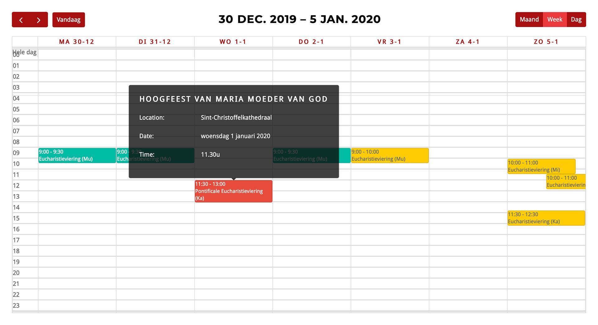 Week view of calendar with <code>[promissa-calendar]</code> shortcode