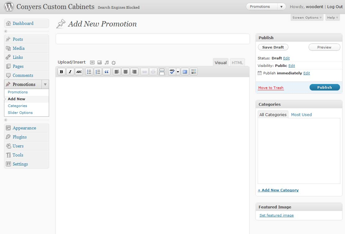 A look at the 'add new promotion' screen.  You can see options available under the promotions menu item on the left.  The 'Set featured image' link on the bottom right is how you upload an image to the slider.