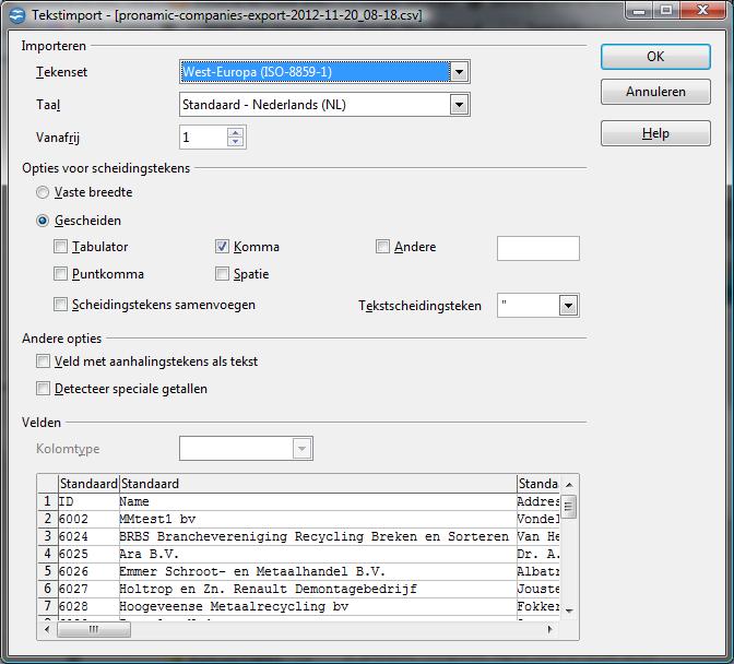 Companies export OpenOffice open dialog