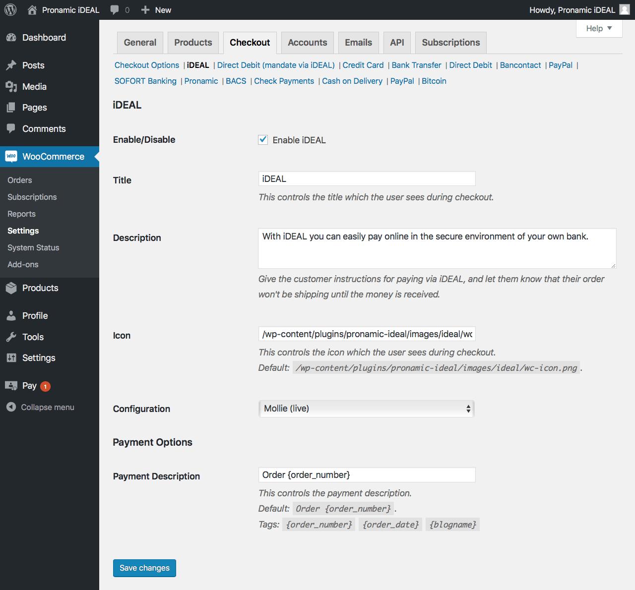 WooCommerce - Checkout settings