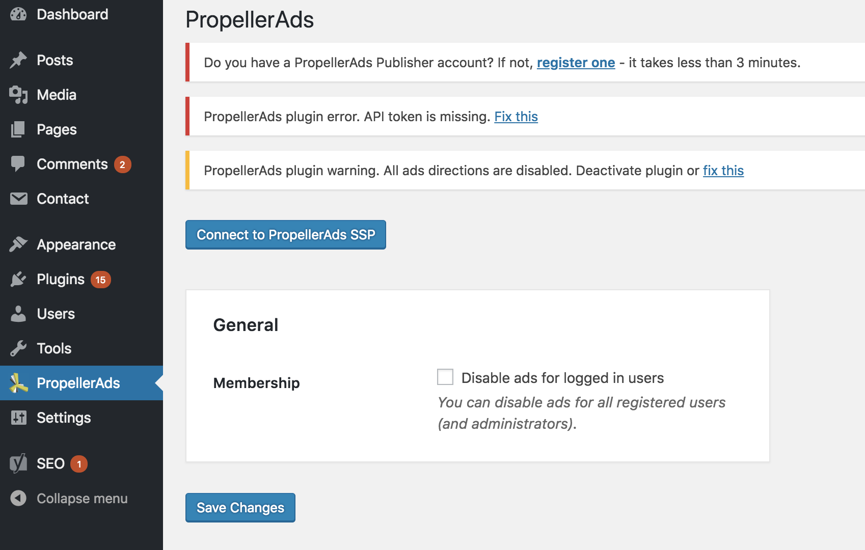 how to stop ads by deals plugin